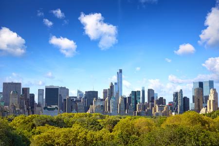 뉴욕시의 센트럴 파크와 맨해튼의 스카이 라인