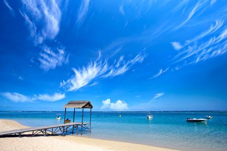 mauritius: Scenic view of tropical beach, Mauritius Island Stock Photo