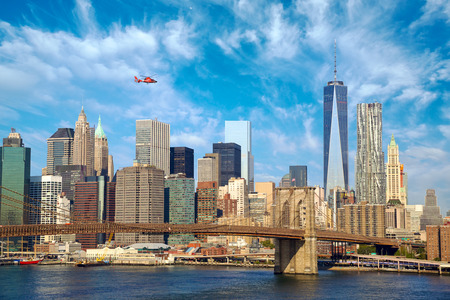 helicopter: Lower Manhattan skyline and Brooklyn Bridge, New York City