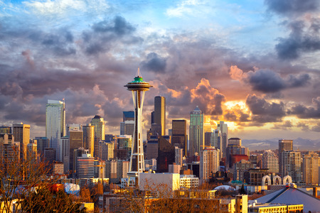 in wa: Seattle skyline at sunset, WA, USA