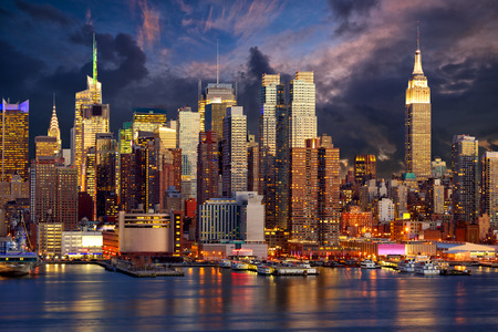 new building: Manhattan Midtown skyline at twilight over Hudson River, New York City