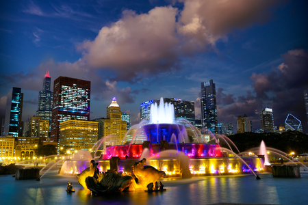 Chicago skyline with Buckingham fountain at twilight, US