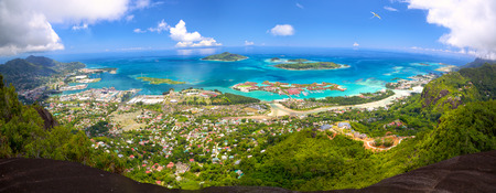 Aerial panoramic view of Mahe coastline, Seychelles Stock Photo