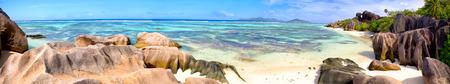 granit: Anse Source dArgent beach panorama, La Digue Island, Seyshelles
