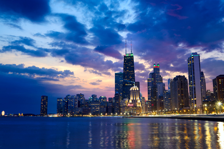 Chicago waterfront with skyline at dusk, IL, US