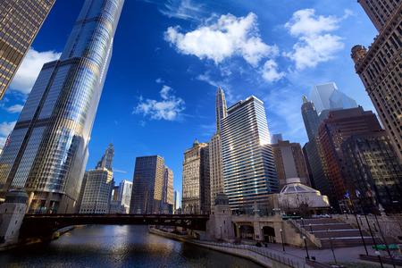 il: Chicago River Walk with urban skyscrapers, IL, United States Stock Photo
