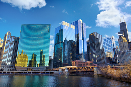 chicago city: Chicago Loop skyline and Chicago River, IL, United States