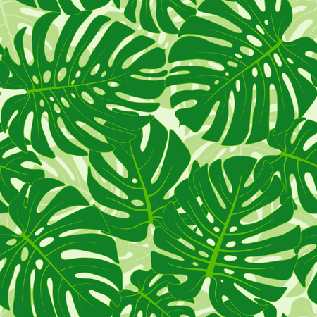 fronds: Seamless pattern with tropical monstera leaves