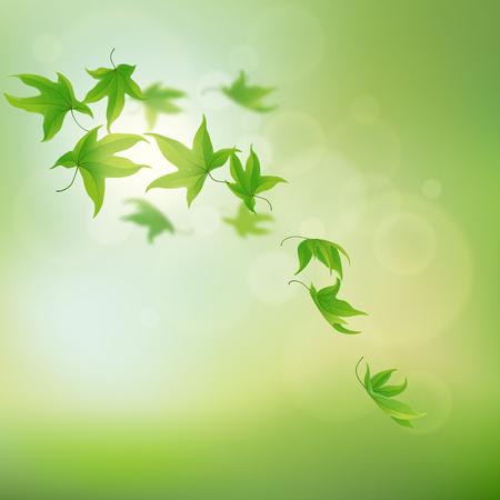 fondo natural: Hojas verdes cayendo y girando en el fondo natural, ilustraci�n vectorial