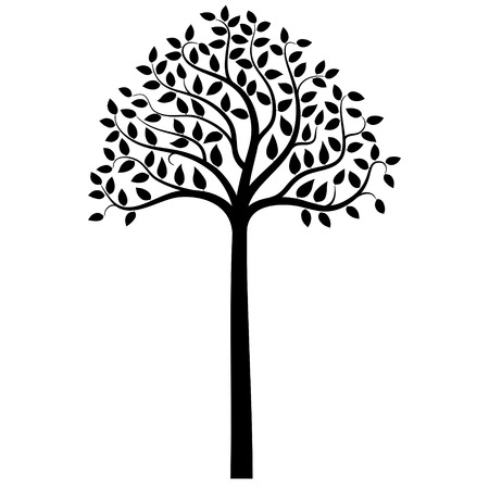 branch silhouette: Tree silhouette on white background, vector illustration
