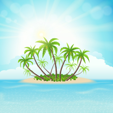 coconut leaf: Tropical island with palm trees, sky, clouds and sun