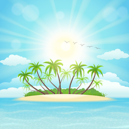 island: Summer tropical island with palms, sky,  clouds and sun