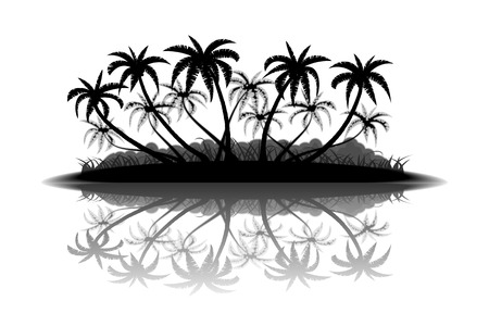 coco: Tropical island with palm trees silhouette on white background Illustration