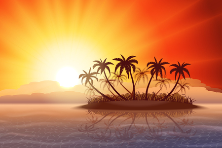 oasis: Paradise tropical island with palm trees at sunset
