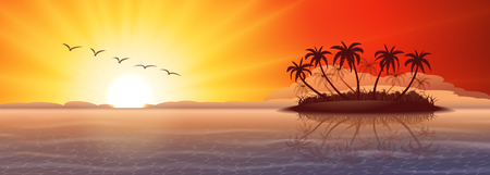 tropical beach panoramic: Panoramic background with tropical island at sunset