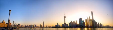 shanghai pudong skyline: Shanghai skyline panorama at sunrise with The Bund and Pudong China