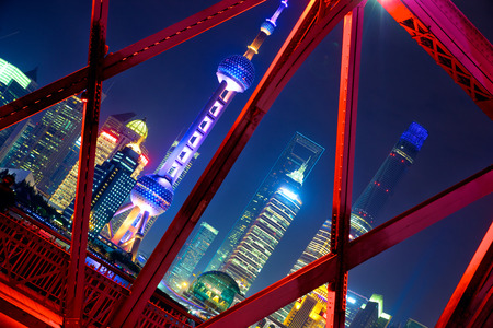 shanghai pudong skyline: Shanghai skyline across Garden Bridge at night China