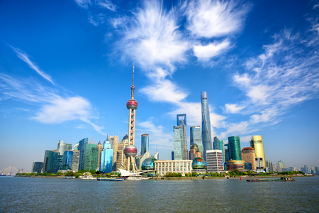 oriental pearl tower: Shanghai skyline with modern urban skyscrapers China Stock Photo