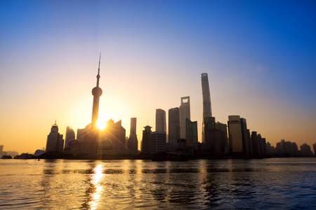 shanghai pudong skyline: Pudong skyline at sunrise Shanghai China Stock Photo