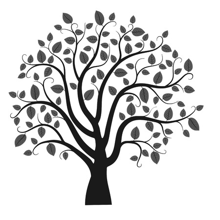 Tree silhouette isolated on white background, vector illustration