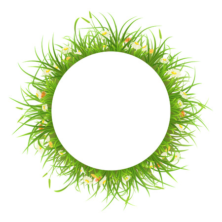 tuft: Round frame with green grass and flowers on white background Illustration
