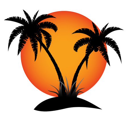 Palm trees silhouette with sun on tropical island Vectores