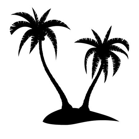 arbres silhouette: Palmiers Silhouette sur île tropicale, illustration vectorielle