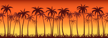 panoramic nature: Tropical sunset with palm trees, seamless background