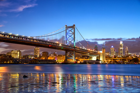 Philadelphia skyline and Ben Franklin Bridge at dusk, US Stock Photo - 42098603