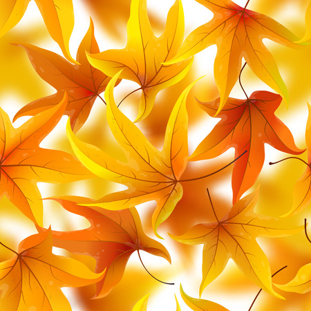peaceful background: Seamless pattern with autumn maple leaves, vector illustration