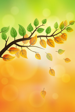 fall: Nature background with falling leaves from summer to autumn