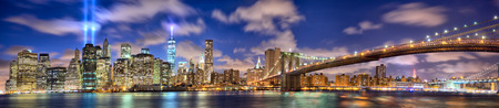 Manhattan skyline panorama with the Towers of Lights (Tribute in Light) in New York City
