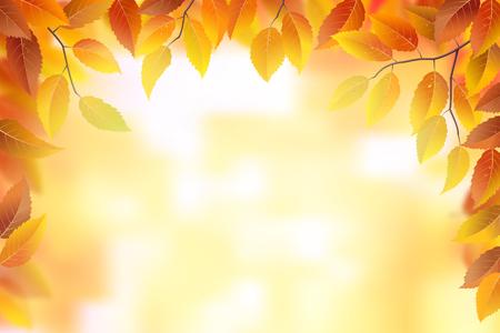 전원시의: 가을 프레임 배경, 벡터 일러스트 레이 션, 잎
