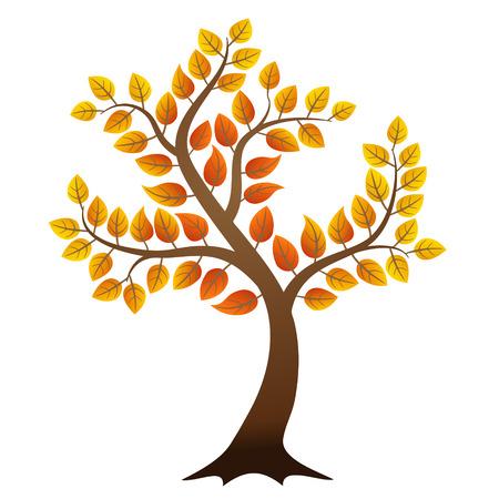 autumn tree: Vector autumn tree on white background Illustration