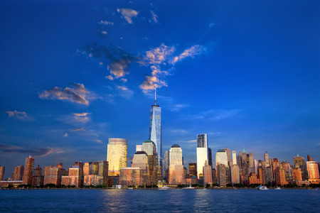 new york skyline: Lower Manhattan skyline at dusk, New York, United States Stock Photo