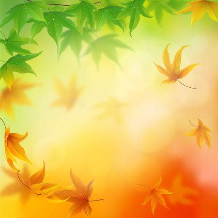 From summer to autumn falling leaves background Illustration