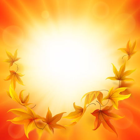 falling leaves: Beautiful autumn background with falling leaves Illustration