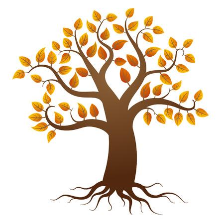 autumn tree: Autumn tree with roots on white background Illustration