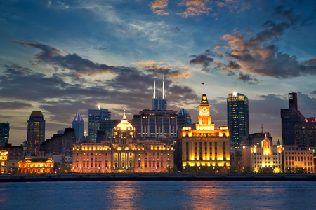 shanghai night: Colonial architecture at The Bund, Shanghai, China Stock Photo