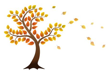 autumn tree: Autumn tree with falling leaves on white background Illustration