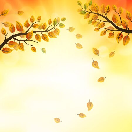 falling leaves: Autumn background with fronds and falling leaves Illustration