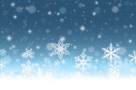 Abstract winter background with snowflakes and snow Çizim