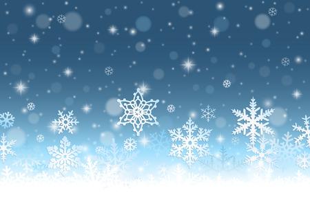 flocon de neige: R�sum� de fond l'hiver avec des flocons de neige et de neige Illustration