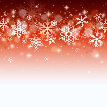 snow background: Christmas winter background with falling snowflakes on red