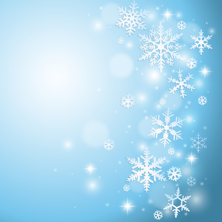 design graphic: Winter background with snowflakes on blue Illustration