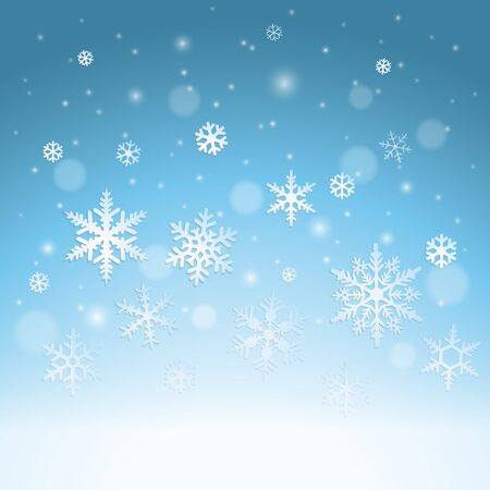 the snowflake: Winter background with falling snowflakes and snow Illustration