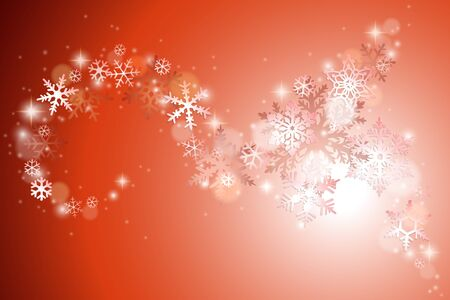 swirl patterns: Christmas winter background with swirl of snowflakes on red
