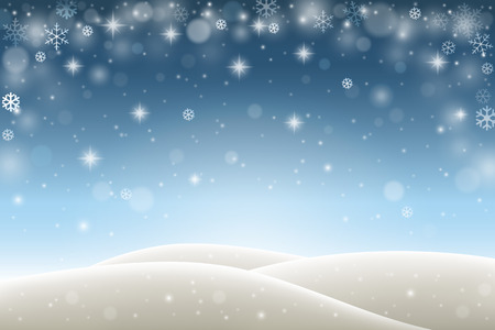 Winter background with falling snowflakes, snow and hills