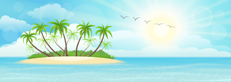 tropical beach panoramic: Summer tropical island with palms, sand, sky and sun Illustration