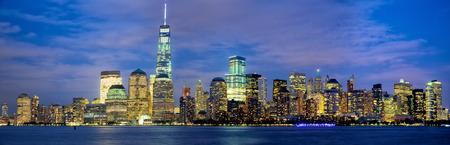 city by night: Lower Manhattan skyline panorama at dusk, New York